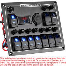 10 Gang LED Rocker Blank Switch Panel Marine Boat Car Voltmeter Circuit+ Labels