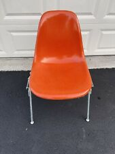 Herman Miller Eames Vintage Authentic Stacking Orange Fiberglass Shell Chair (1)