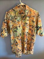 Rum Reggae Green And Orange Mens Sz. L Casual Button Down Shirt Unique Hawaiian