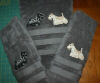 Scottish Terrier Scottie Dog 2 Bath Towels EMBROIDERED Personalized Gift
