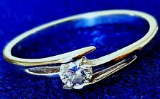 18ct Solid 750 White Gold Ring Natural Mined Solitare Diamond Certificated £400