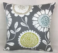 "SCION ANNEKE Fabric Modern Retro Floral Grey Reversible 17"" Cushion Cover"
