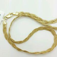 "14k Solid Yellow Gold Braided Foxtail Wheat Bracelet 7"" 3.5mm Women"