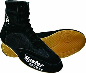 Master Sports Boxing Shoes Black Cheetah Suede Leather Boot Light Weight Mesh