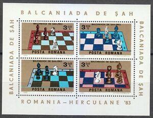 Romania 1984 MNH Mi Block 201 Sc 3181 Balkan Chess Match **