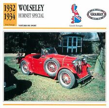 Wolseley Hornet Special  6 Cyl. 1932-1934 GB/UK CAR VOITURE CARTE CARD FICHE