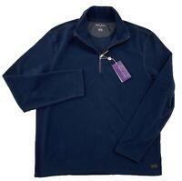 $350 Ralph Lauren Purple Label Blue Half zip Fleece Size Medium Made In Italy
