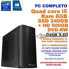 COMPUTER DESKTOP PC NUOVO ASSEMBLATO  i5 3470 QUAD CORE RAM 8GB SSD 240GB  W 10