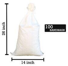 """Sandbags For Sale - 100 White 14"""" x 26"""" -Sandbag Sand Bags Bag Poly by Sandbaggy"""
