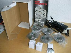 Halogen Einbauleuchten Set Einbauleuchtenset EHG 5006 satin Trafo dimmbar 5x20 W