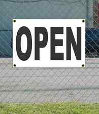 2x3 Open Black & White Banner Sign New Discount Size & Price Free Ship