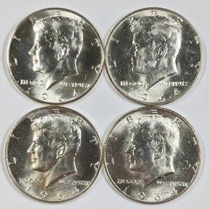 Lot of 4 1964-P Kennedy Half Dollars 90% Silver UNC 186904B