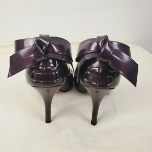 Enzo Angiolini Womens Ribbon Open Toe Heels Patent Leather Eggplant Purple 5 1/2