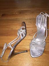 STUART WEITZMAN 7.5 M Silver Glittery Anklestrap Sexy high Heel Sandals