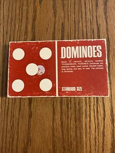 Vintage Puremco Marblelike Dominoes Standard Size Red Box #30