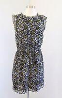 NWT Ann Taylor Loft Black Multi Color Floral Ruffle Trim Dress Sz S Pink Yellow