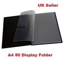 A4 pantalla de certificado de documento carpeta con 80 bolsillos transparente de plástico negro