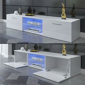 Modern 160cm TV Unit Cabinet TV Stand - Matt Body & High Gloss Doors LED Light