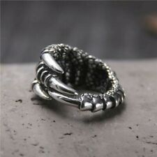 Solid 925 Sterling Silver Mens Heavy Solid Eagle Claw Ring Open Adjustable Size
