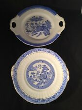 More details for willow gustafsberg plate and one similar blue and white oriental scenes