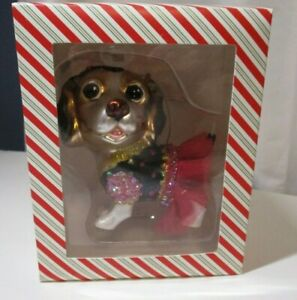 Dressed Dog Puppy Girl Pet Glass Xmas Ornament Gold Pink Dress Cute CIAO CIAO