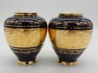 2 German Echt Kobalt Werterbeit Vases Cobalt Blue Gold Floral Decoration Trim