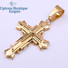 03 Men's Stainless Steel Gold Cross with Star 3 layer Pendant