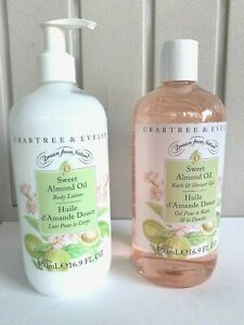 """NEW CRABTREE & EVELYN """" SWEET ALMOND OIL """" SHOWER GEL AND BODY LOTION SET"""