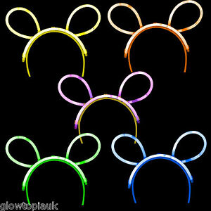 5x Glow in the Dark Bunny Ears - Glow Stick Bright Neon - Parties Festivals