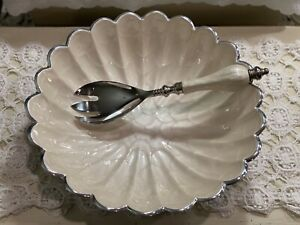 """NEW Julia Knight Serving Bowl Scalloped Mother of Pearl 12"""" with Serving Utensil"""