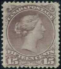 Canada #29b mint F part OG H 1868 Queen Victoria 15c red lilac Large Queen