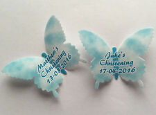 15 Personalised Blue Christening Wafer Paper Butterflies Cupcake Cake Toppers