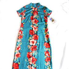 NWT Hilo Hattie Hawaiian Teal Mandarin Collar Hibiscus Maxi Panel Dress Sz Small