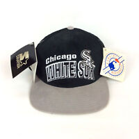 Starter Chicago White Sox Embroidered SnapBack Hat Cap Gray Black Cotton