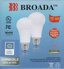 A (2 PACK) DIMMABLE LED BULB - 9 W, WARM WHITE, 3000 K, 800 LUMENS, - BY BRODA