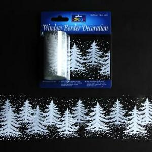 2m Window Border Cling Sticker Decal WHITE TREES Christmas Decoration Festive