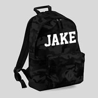 Personalised Camouflage Backpack - Any Name School Bag Sports Casual Unisex COD
