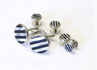 NEW CUFF LINKS STUDS REAL BLACK ONYX AND MOTHER OF PEARL MOP