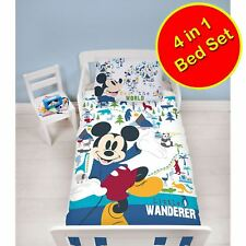 Official Mickey Mouse Wanderer Junior 4 In 1 Bedding Set - Quilt, Pillow, Covers