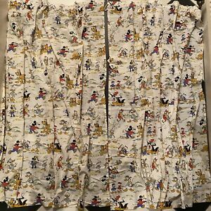 Vintage Disney Curtains 60's / 70's - Mickey Mouse Donald Duck - Rare Fabric
