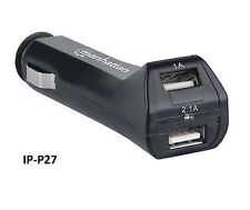 USB 2-Port MP3, iPhone, GPS, Tablet, Car Charger Cigarette Lighter Adapter