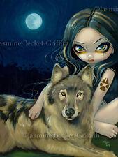 Jasmine Becket-Griffith art print SIGNED Wolf Moon werewolf native pop fairy dog