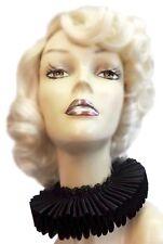Black Satin Lace Elizabethan Neck Ruff Ruffled Collar Victorian Steampunk Gothic
