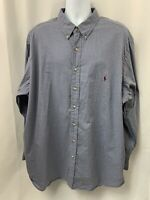 Polo Ralph Lauren Mens Size 3XB Long Sleeve Button Down Blue Brown Plaid Shirt