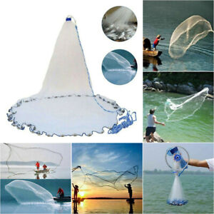 Hand Throw Fishing Net Cast Spin Bait Sinker Monofilament Small Mesh Equipment ~