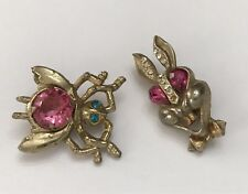 Antique Vintage Pin Brooch Lot Bug Insect Rabbit Rhinestone