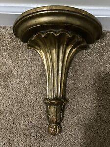 Vintage Italy Wooden Shelf Wall Bracket Corbel  Gold Gilt Fluting Acanthus Leaf