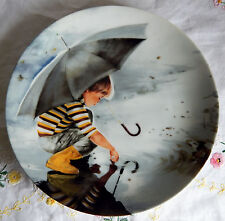 """""""Touching the Sky"""" by Donald Zolan Plate w/Coa (8.5"""" 1982) Boy with Umbrella"""