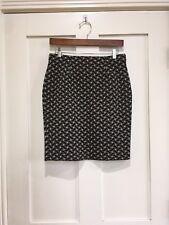 NWT J. Mclaughlin Slim Metallic Lattice Jacquard Black Gold Skirt Pencil SiZe S