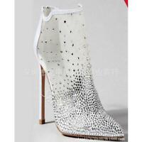 TOP Mesh Strass Damen Abendpumps Sexy Sehr High Stilettos Heels Bankett Schuhe